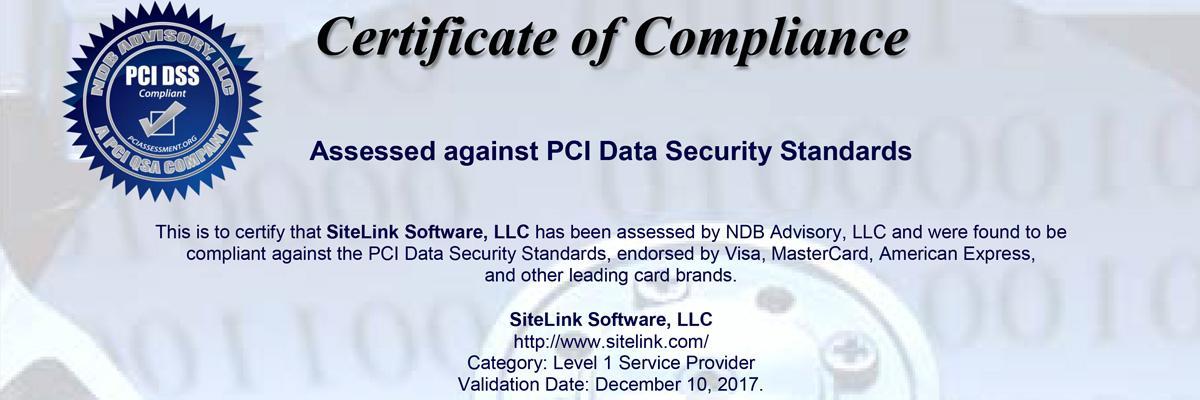 SiteLink Announces Annual PCI DSS Level 1 Recertification